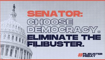 Facebook. #FilibusterFriday Activist Graphic