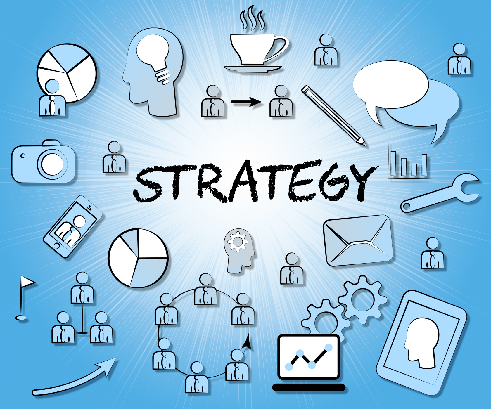 Strategy Icons Indicates Innovation Sign And Vision
